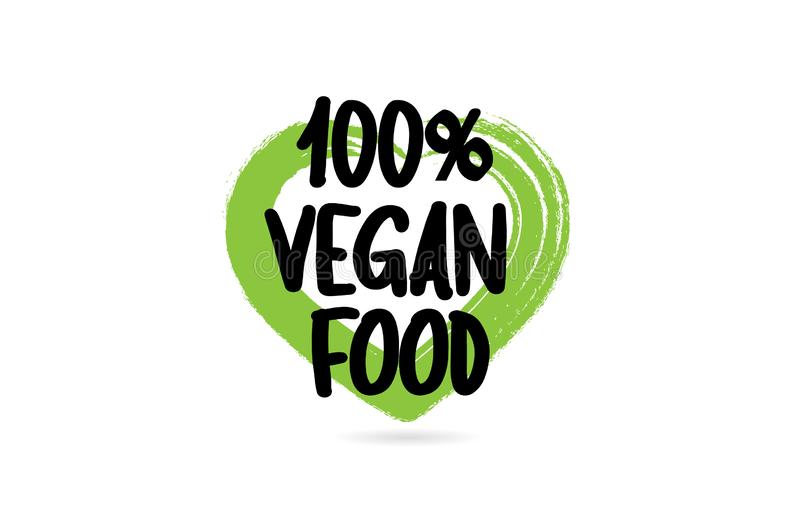 100% vegan food text word with green love heart shape icon stock illustration