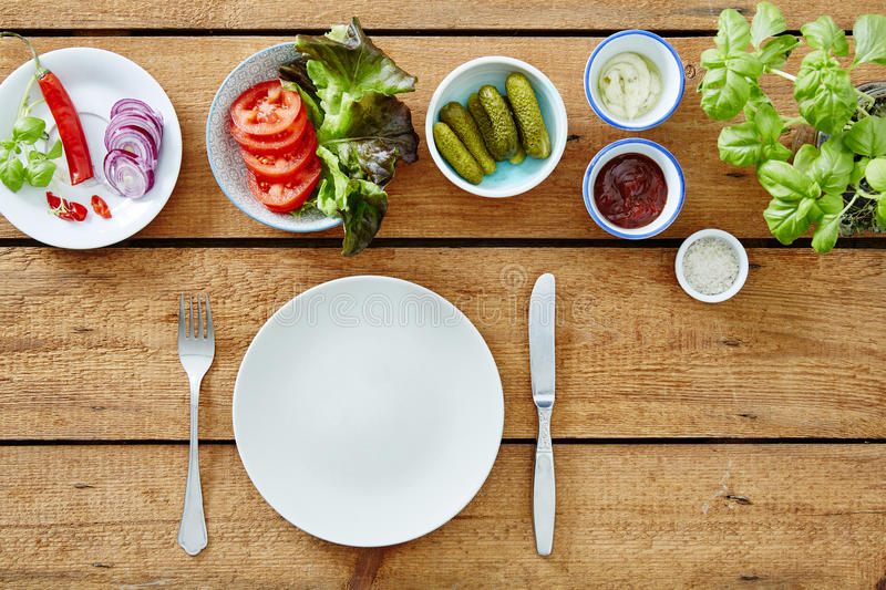 Vegan foodie salad bar ready to prepare a snack. Sandwich ingredients stock images