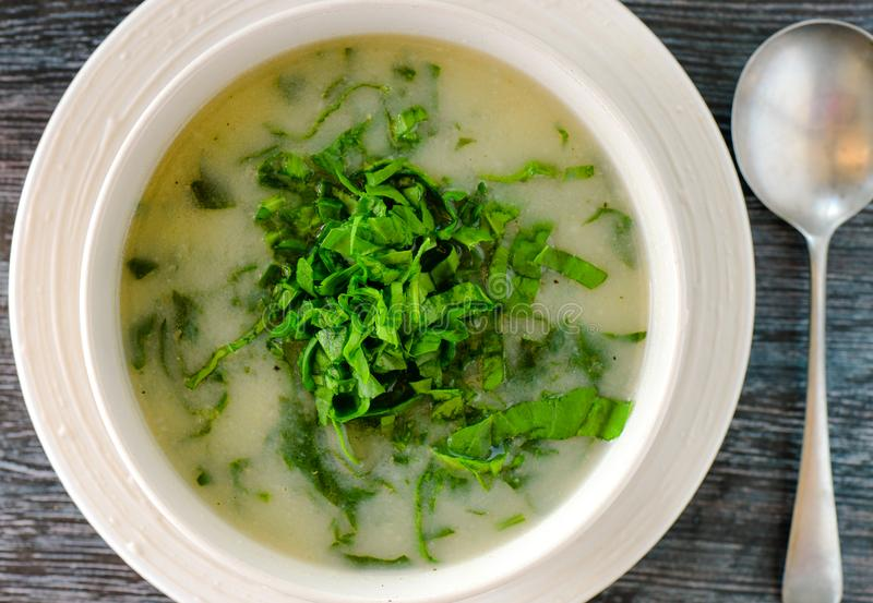 Vegan glutenfree Potato leek soup. Vegan glutenfree Potato and leek soup.A good appetizer for winter stock photography