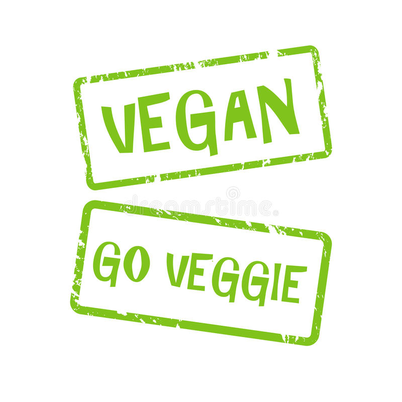 Vegan and go veggie button stock illustration