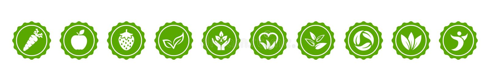 Vegan green bio button icons set with carrot, apple, strawberry and leaves sign – vector vector illustration