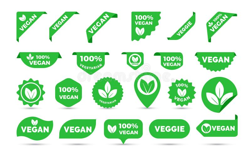 Vegan green stickers set for vegan product shop tags, labels or banners and posters. Vector vegan sticker icons templates set royalty free illustration
