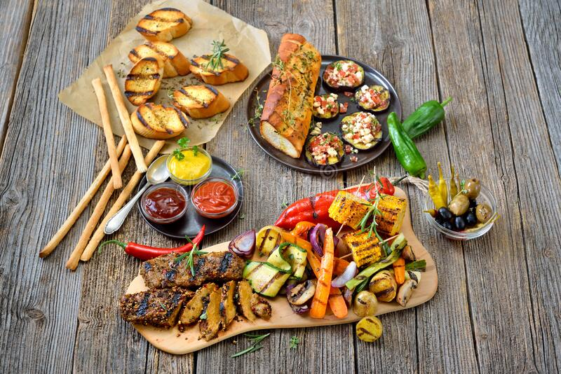Vegan grill meal stock image