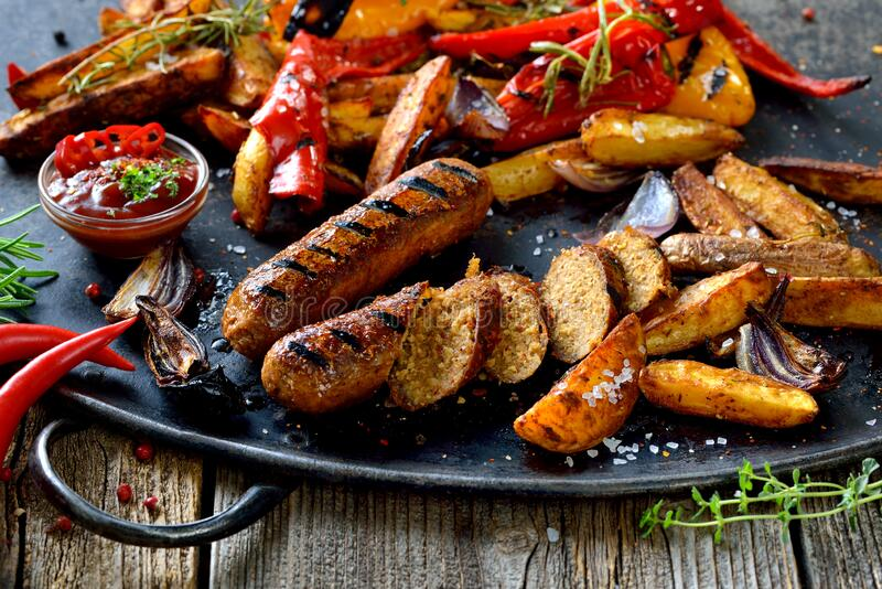 Vegan grill meal royalty free stock images