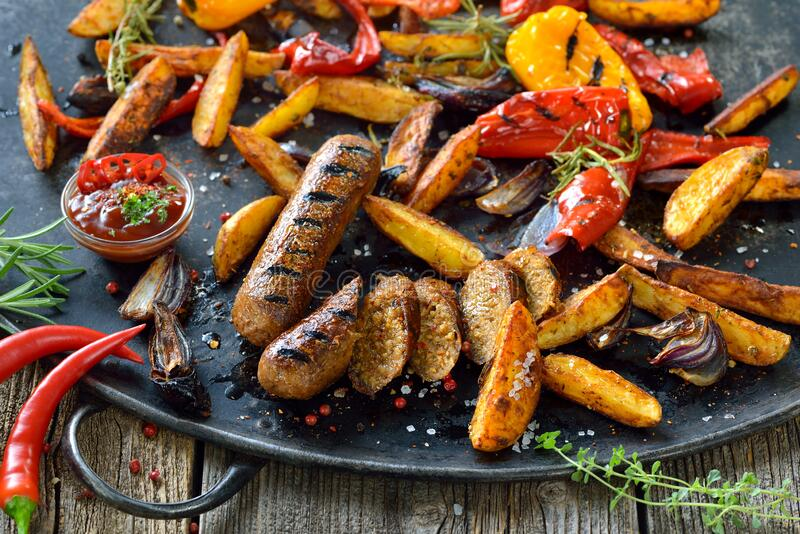 Vegan grill meal royalty free stock photos