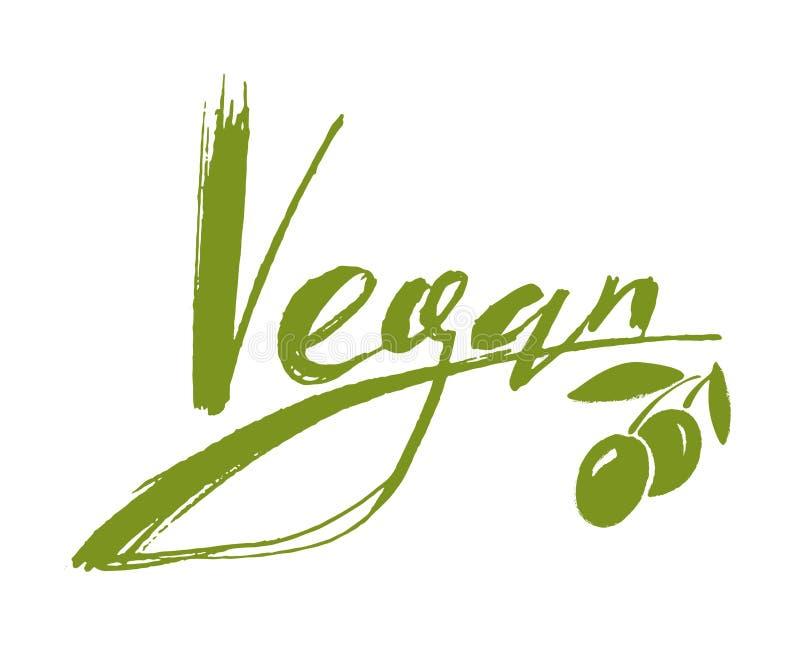 Vegan handwritten lettering logo stock illustration