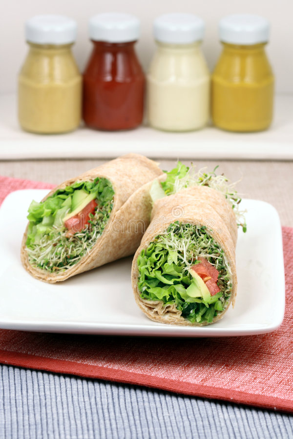 Vegan healthy wraps royalty free stock photos