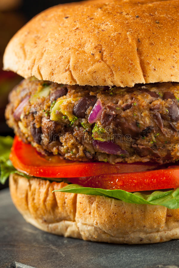 Free Vegan Homemade Portabello Mushroom Black Bean Burger Stock Image - 74388771