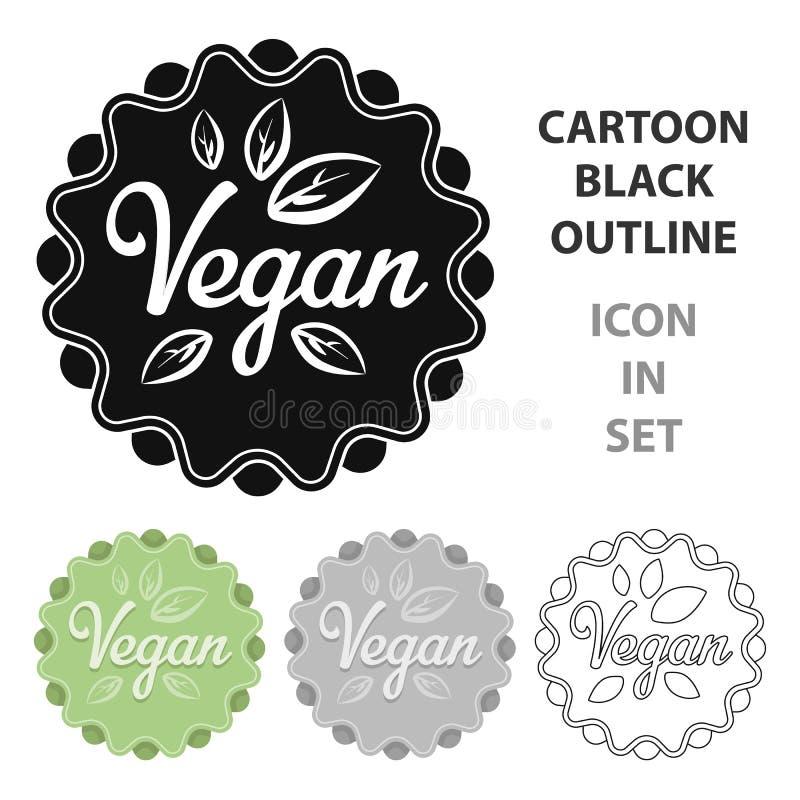 Vegan icon in cartoon style isolated on white background. Label symbol stock vector illustration. royalty free illustration