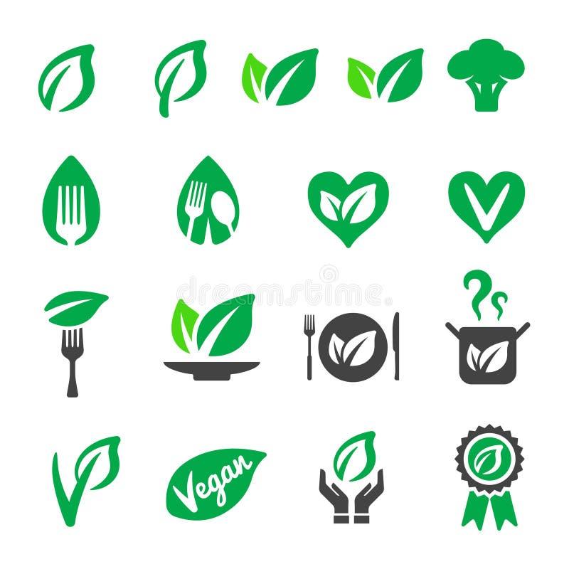 Vegan icon set. Vector and illustration stock illustration