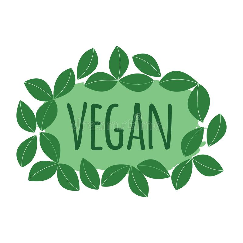 Vegan label. Healthy and Organic Food. Font with Brush. Food Intolerance Symbols and Badges. Vector illustration icon.  stock illustration