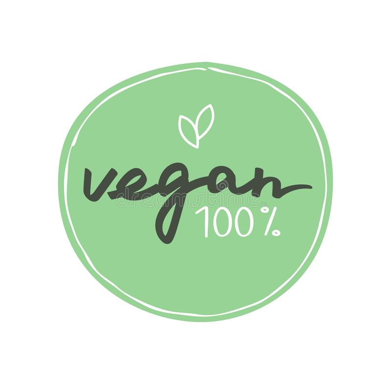 Vegan handwritten label. Vector illustration. stock illustration