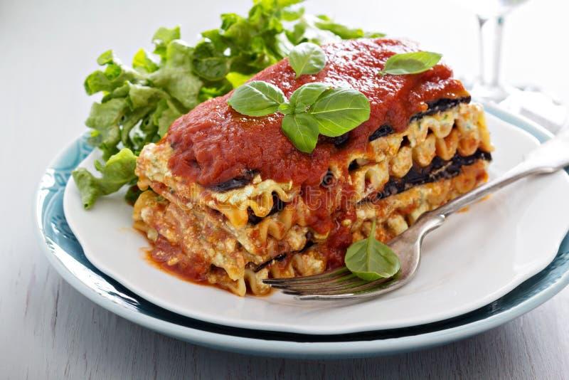Vegan lasagna with eggplant and tofu royalty free stock photos