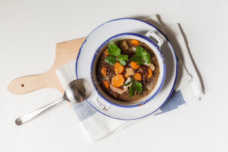 Vegan lentil stew royalty free stock photos