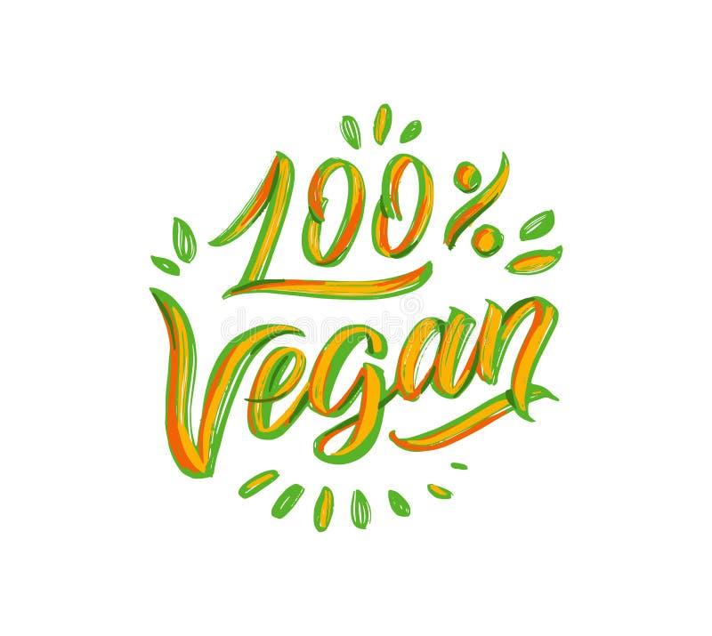 Vegan lettering phrases, logo. Vector illustration. Handwritten composition stock illustration