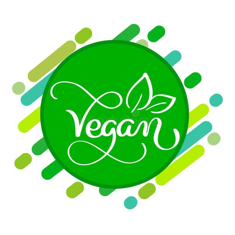 Vegan logo concept. Vector sign. Handwritten lettering for restaurant cafe stock illustration