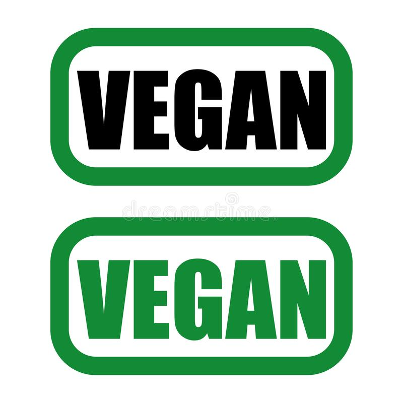 vegan logo in green and black colours royalty free illustration