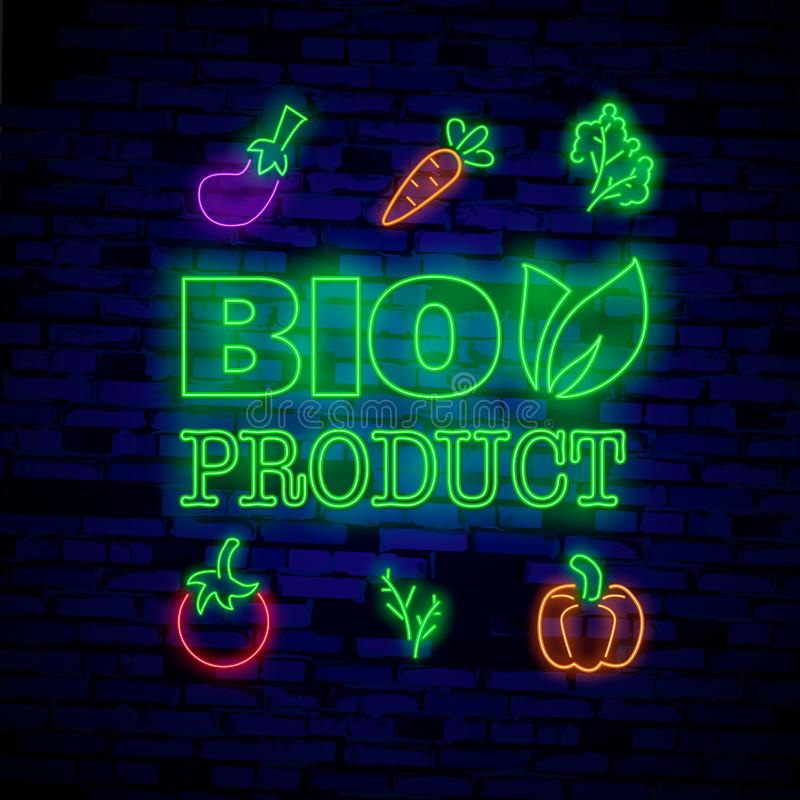 Vegan logo in neon style. Neon symbol, bright luminous sign, neon night advertising on the theme of Vegetarian food, royalty free illustration