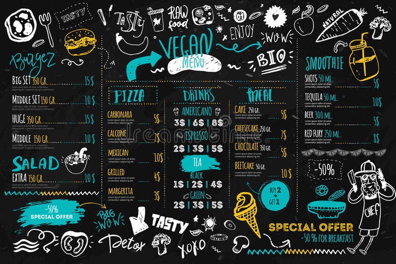 Vegan menu with hipster chef, doodle organic food and lettering. ecological concept on dark chalk board stock illustration