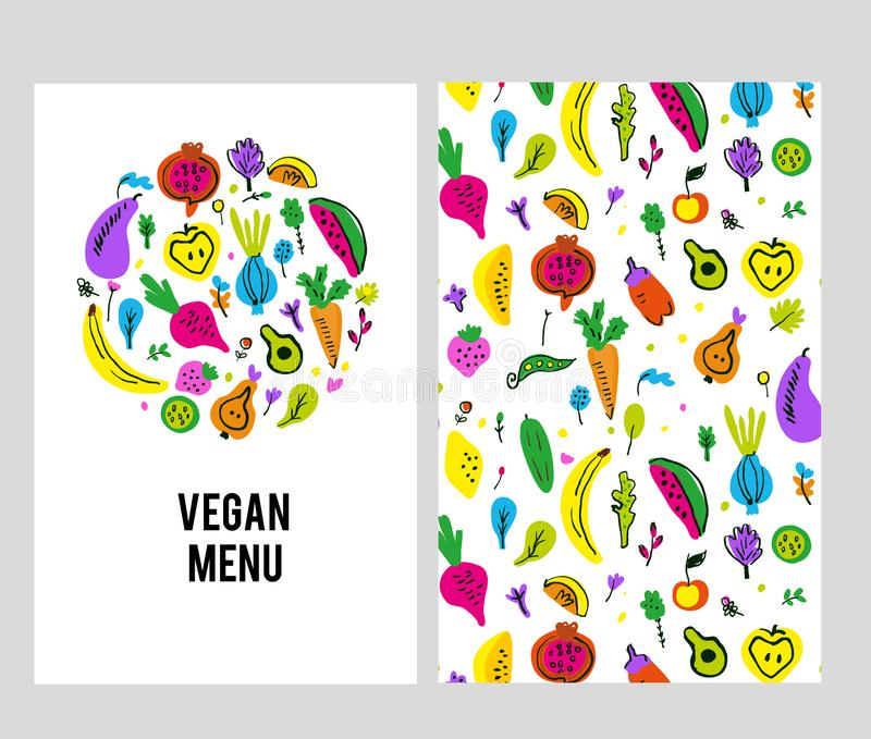 Vegan menu template set with logo and pattern. Vector  illustration stock image