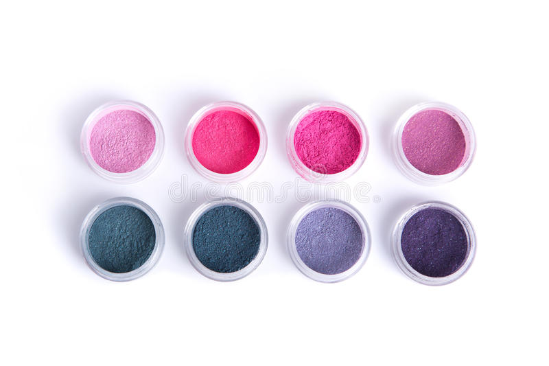 Vegan mineral eye shadows, top view. Isolated on white background with natural shadow royalty free stock image