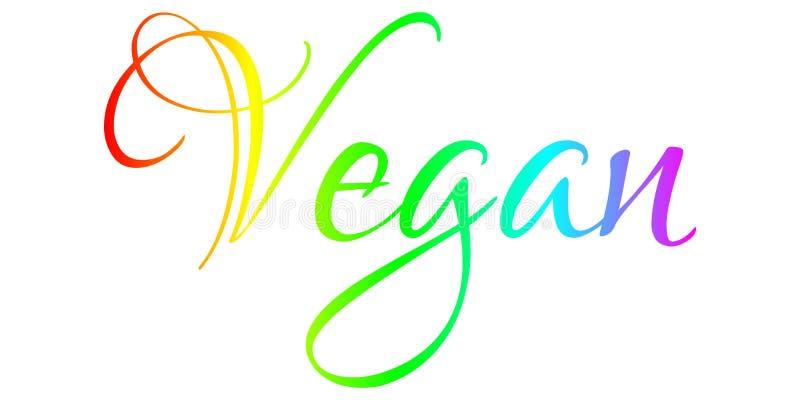 Vegan - Motivation, Philosophy, Lifestyle Banner. Motivational colorful text isolated on white background vector illustration