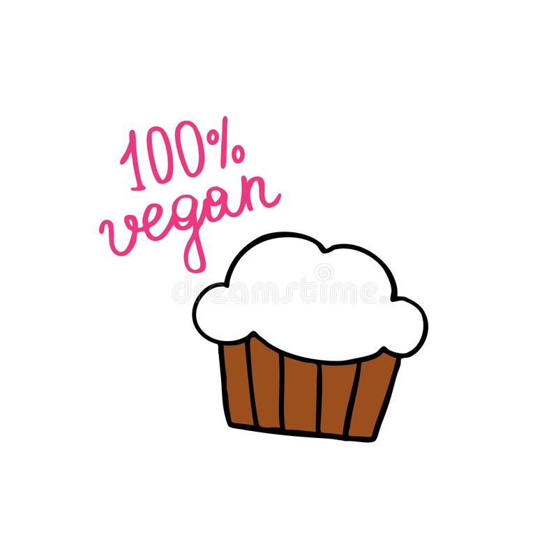 Vegan muffin doodle icon. Vector illustration stock illustration