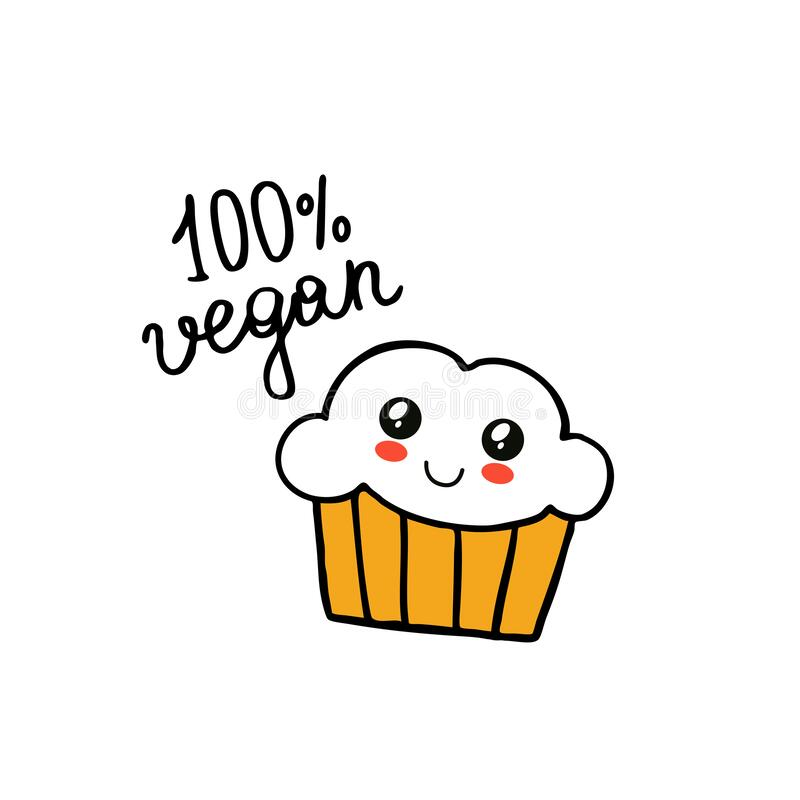 Vegan muffin doodle icon. Vector illustration vector illustration