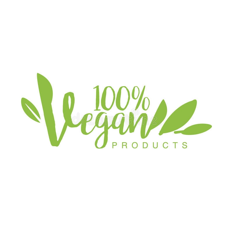 Vegan Natural Food Green Logo Design Template With Stylized Font Promoting Healthy Lifestyle And Eco Products vector illustration