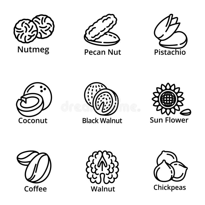 Vegan nuts icon set, outline style stock illustration