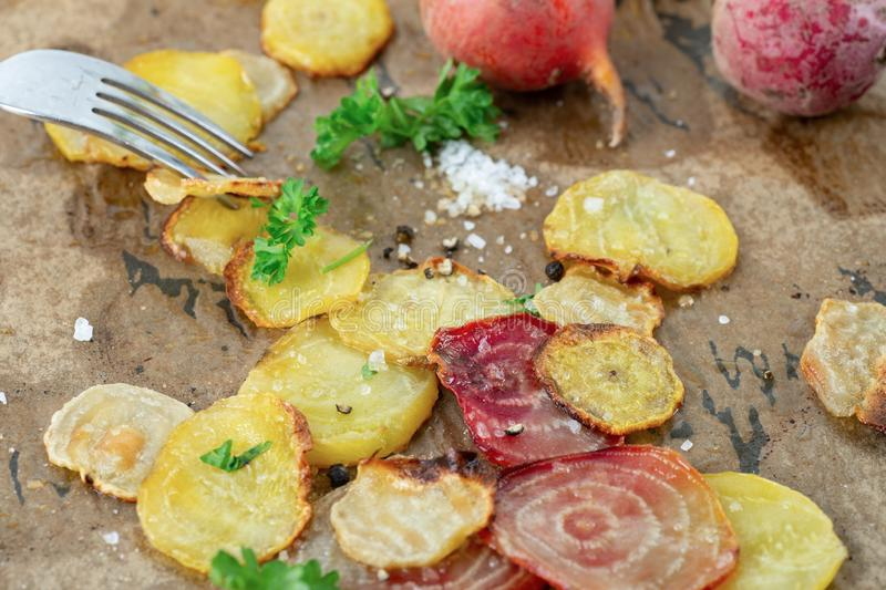 Vegan Organic Oven Baked Sliced Beets stock images