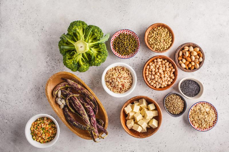 Vegan protein source. Tofu, beans, chickpeas, nuts and seeds on royalty free stock photos