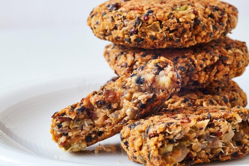 Vegan quinoa and bean burgers royalty free stock photography