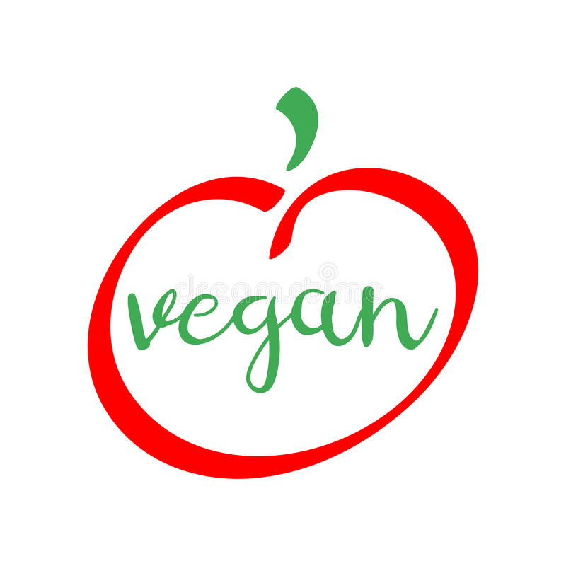 Vegan Red And Green Logo Healthy Food Vector Symbol Stock Vector