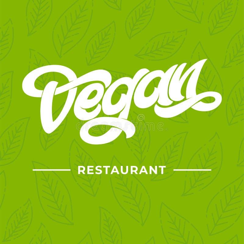 VEGAN RESTAURANT lettering. Logo concept for restaurant. Green seamless pattern with leaf. Handwritten letteringrestaurant, cafe m royalty free illustration