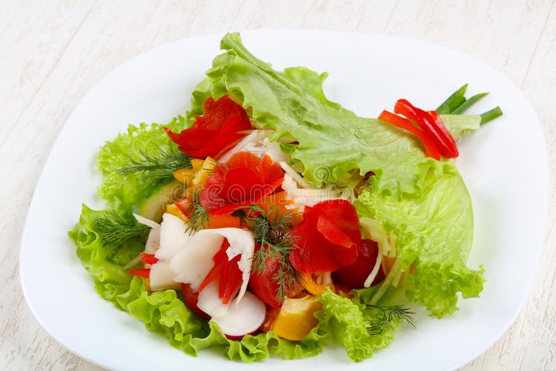 Vegan salad. Bouquet of vegetables royalty free stock photography