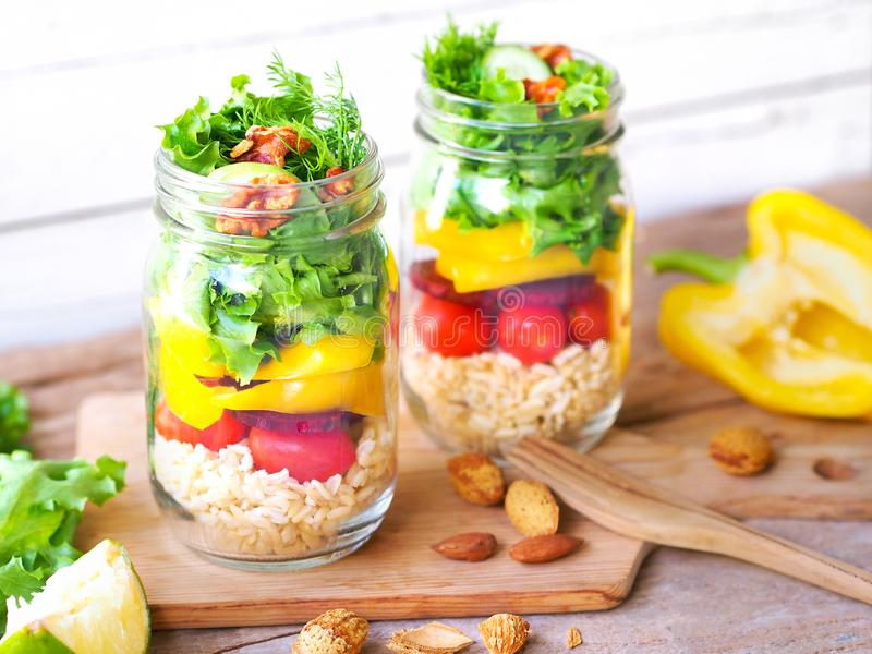 Vegan salad jar for dietary food or light meal concept stock image
