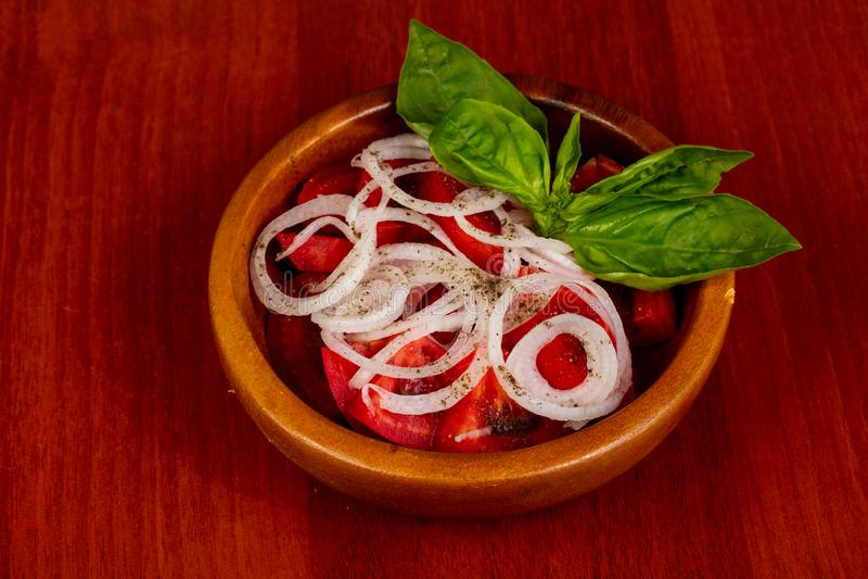 Vegan salad with tomato stock image