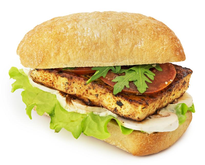 Vegan sandwich on white background royalty free stock images