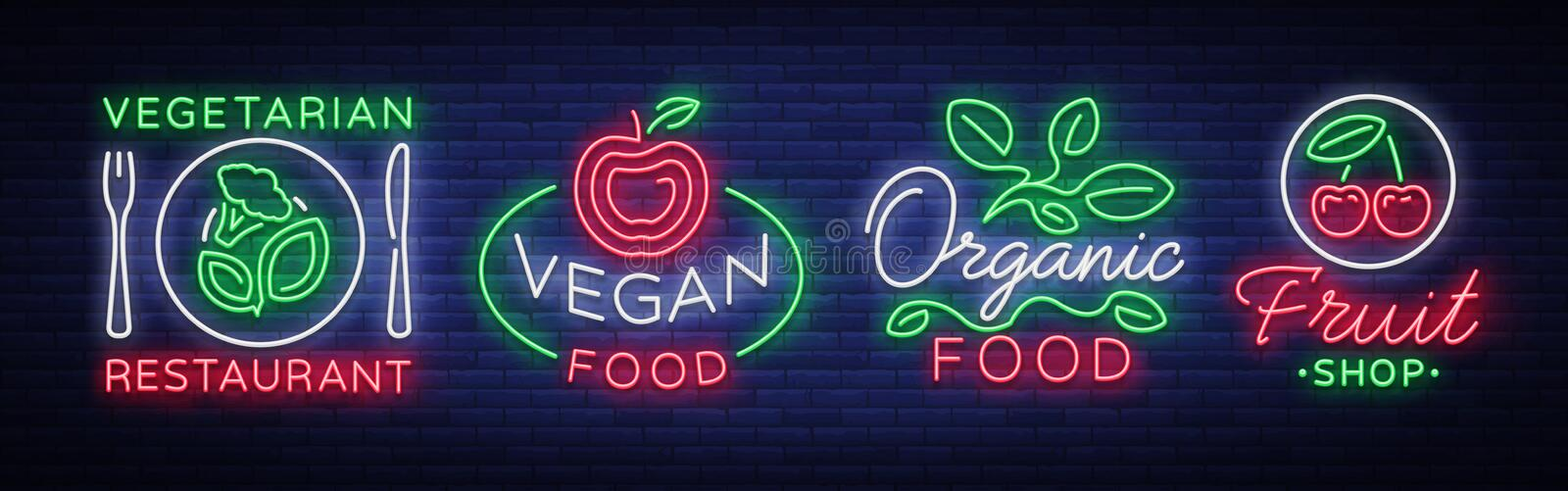 Vegan set of logos in a neon style. Collection of neon signs, a bright luminous sign, neon advertising on the theme of vector illustration