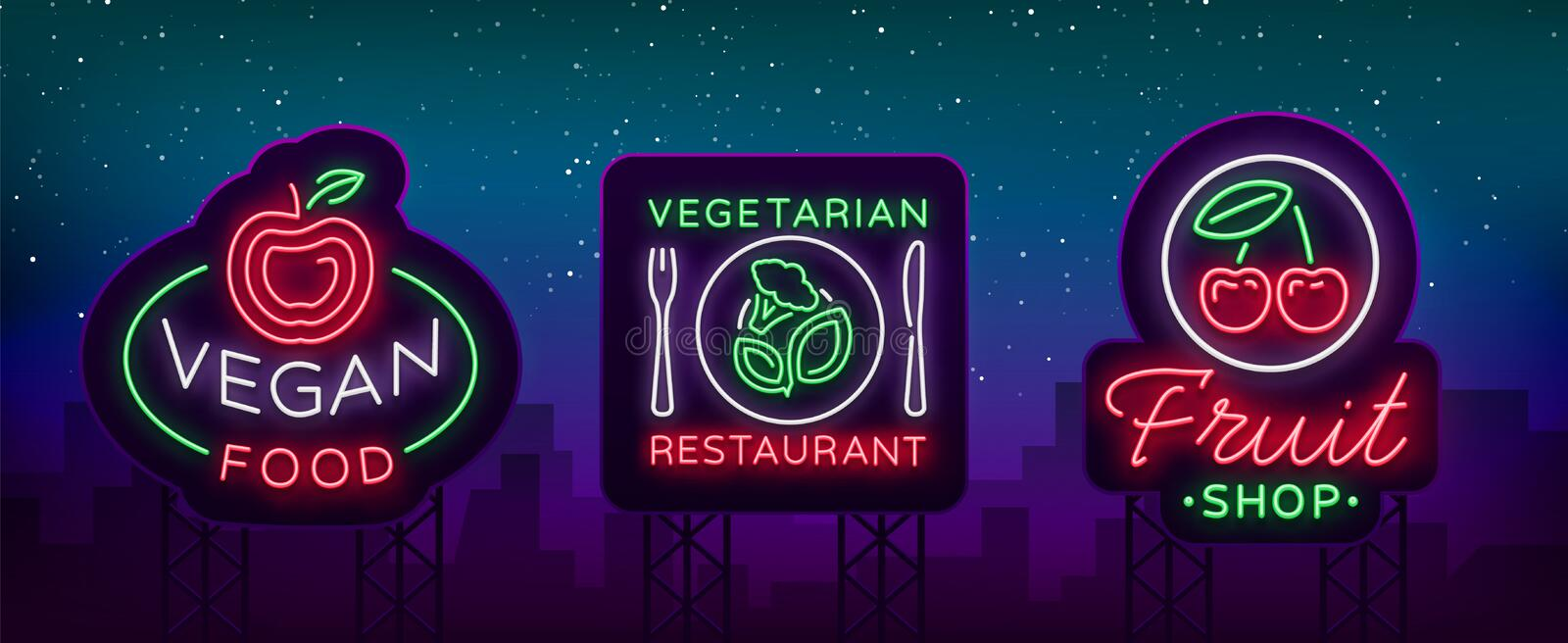 Vegan set of logos in a neon style. Collection of neon signs, a bright luminous sign, neon advertising on the theme of stock illustration