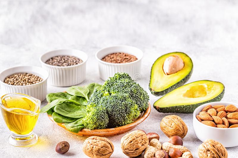 Vegan sources of omega 3 and unsaturated fats. Concept of healthy food royalty free stock photography