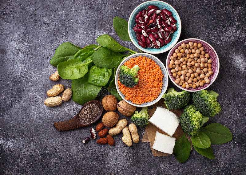 Vegan sources of protein stock photography