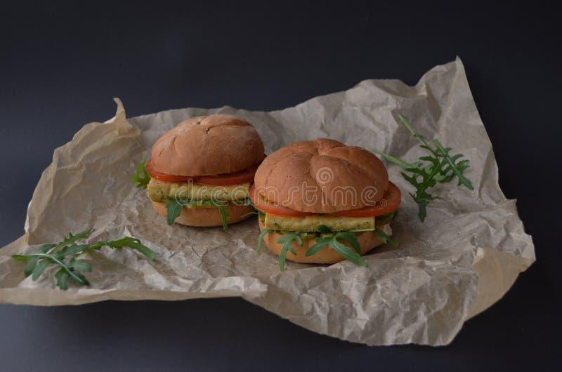 Vegan soya tofu burger sandwich royalty free stock photo