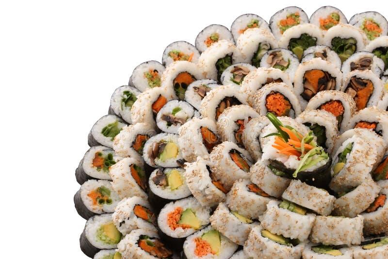 Vegan sushi on a big plate stock photos