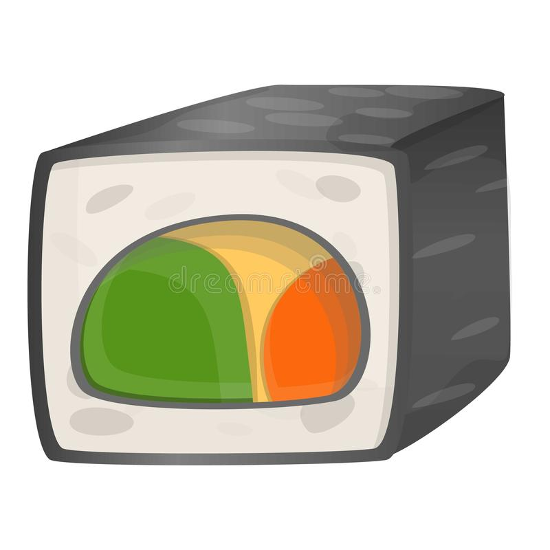 Vegan sushi icon, cartoon style vector illustration