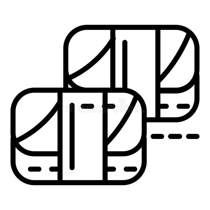 Vegan sushi roll icon, outline style stock illustration