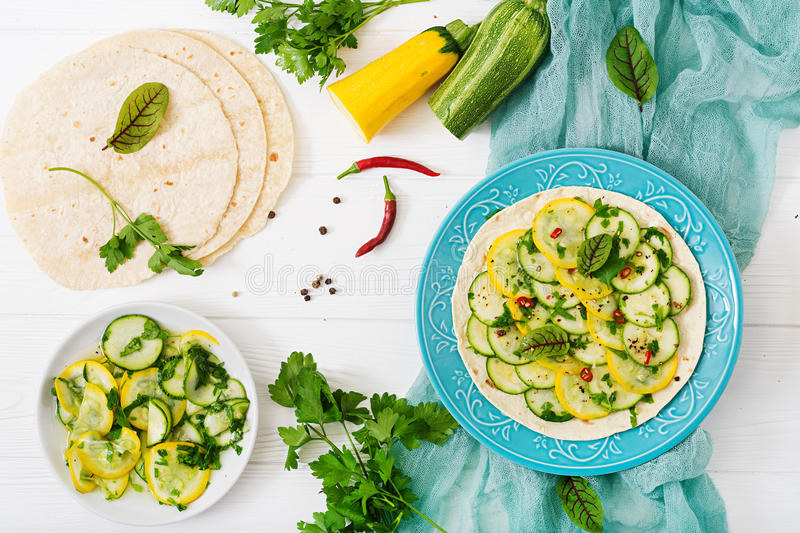 Vegan tacos with pickled zucchini and chili pepper. Flat lay royalty free stock images