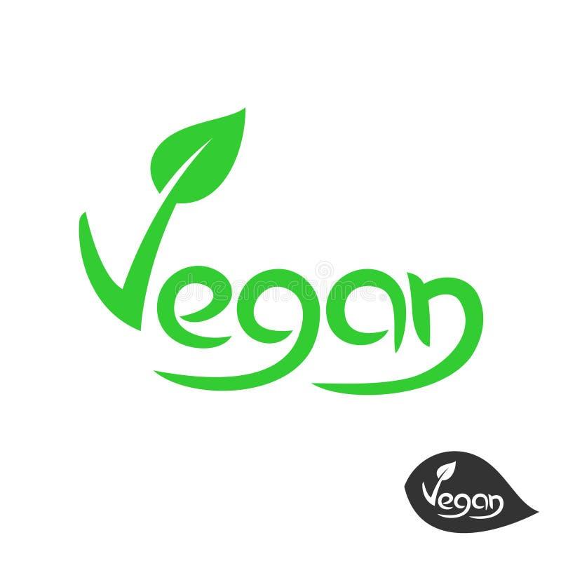 Vegan text logo with grean leaf on V letter. Vegetarian food symbol. royalty free illustration
