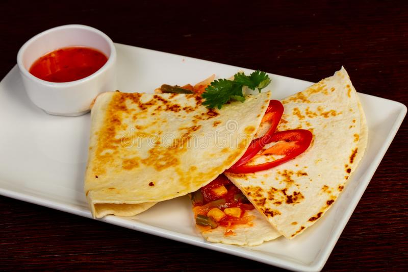 Vegan Tortilla with vegetables royalty free stock photos